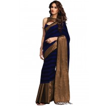Paaneri Designer Navy Blue With Chiku Color Cotton Printed Saree-Product Code-16110024007