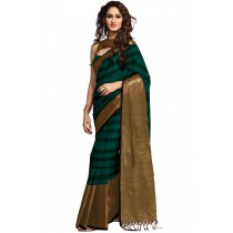 Paaneri Dark Green With Chiku Color Cotton Printed Saree-Product Code-16110024107