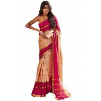Paaneri Beige Color Stripe Cotton Printed Saree-Product Code-16110024208