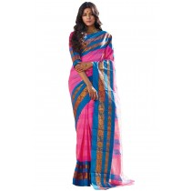 Paaneri Pink Color Blue Border Cotton Printed Saree-Product Code-16110024308