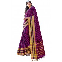 Paaneri Designer Multicolor Checks Cotton Printed Saree With Stripe Pallu-Product Code-16110024408