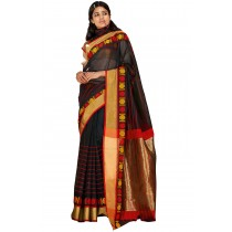 Paaneri Black Color Cotton Printed Saree With Golden Pallu-Product Code-16110024708