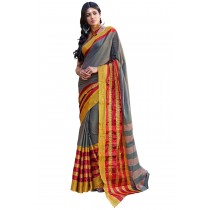 Paaneri Grey Color Cotton Printed Saree With Stripe Pallu-Product Code-16110024908