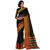 Paaneri Paaneri Black Color Cotton Printed Saree With Stripe Pallu-Product Code-16110025008