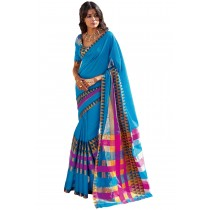 Paaneri Light Blue Color Cotton Printed Saree With Checks Pallu-Product Code-16110025108