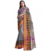 Paaneri Silver Color Cotton Printed Saree-Product Code-16110025308