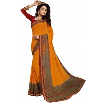 Paaneri Dark Orange With Brown Color Georgette Printed Saree Product Code-16120019511