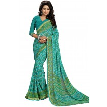 Paaneri Turquoise With Green Color Georgette Printed Saree Product Code-16120019711