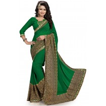 Paaneri Dark Green With Khaki Color Georgette Printed Saree Product Code-16120019911