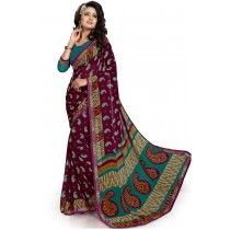 Paaneri Maroon Color Georgette Printed Saree Product Code-16120020011