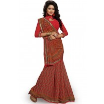 Paaneri Red With Peru Color Floral Georgette Printed Saree Product Code-16120020111