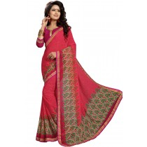 Paaneri Crimson Color Georgette Printed Saree Product Code-16120020211