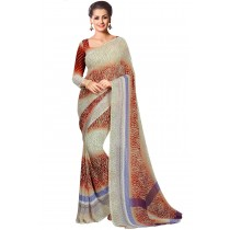 Paaneri Cream With  Brown Color Georgette Printed Saree Product Code-16120020712