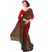 Paaneri Fancy Red Color Floral Georgette Printed Saree Product Code-16120021212