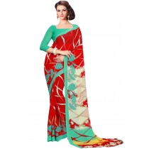 Paaneri Red With Aquamarine Border Georgette Printed Saree Product Code-16120021412