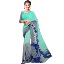 Paaneri Half n Half Aqua With Gey Color Floral Print Georgette Saree Product Code-16120021512