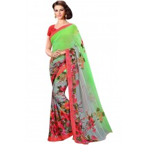 Paaneri Lime Green Color Floral Print Georgette Printed Saree Product Code-16120021712
