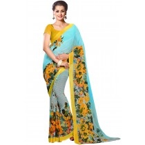 Paaneri Designer Aqua Blue Color Floral Print Georgette Printed Saree Product Code-16120021812