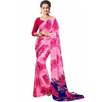 Paaneri Pink  Color Floral Print Georgette Printed Saree Product Code-16120021912