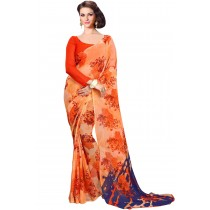 Paaneri Orange  Color Floral Print Georgette Printed Saree Product Code-16120022012
