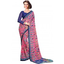 Paaneri Pink Color With Navy Blue Border Georgette Printed Saree Product Code-16120022312