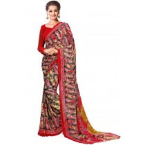Paaneri Multicolor With Red Border Georgette Printed Saree Product Code-16120022412