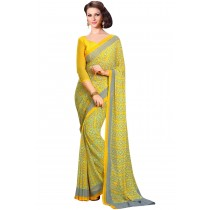 Paaneri Fancy Dark Yellow Color Georgette Saree Product Code-16120022712