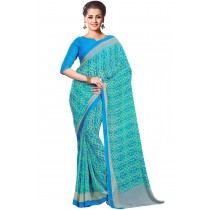 Paaneri Turquoise  Color Georgette Printed Saree Product Code-16120022812