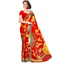 Paaneri Red With Yellow Color Georgette Printed Saree Product Code-16120022912