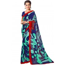 Paaneri Navy Blue With Turquoise Color Georgette Printed Sraee Product Code-16120023012