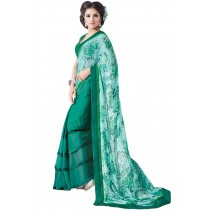 Paaneri Half n Half Multi With Teal Color Floral Georgette Saree With Satin Lace Border Pallu Product Code-16120130509