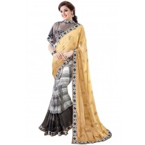 Paaneri Half n Half Multi With Rust Color Georgette With Net Printed Saree Product Code-16120130609