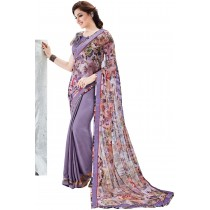 Paaneri Half n Half Multi With Dusty Purple Color Lace Satin Floral Georgette Printed Saree Product Code-16120130709