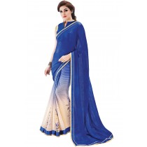 Paaneri Shaded Cream With Blue Color Satin & Straps Chiffon Saree Product Code-16120130809