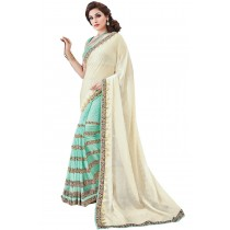 Paaneri Half n Half Beige With Turquoise Color Georgette With Jacquard Printed Saree Product Code-16120131109