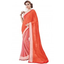 Paaneri Orange Color Georgette With Net Printed Saree Product Code-16120131209