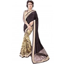 Paaneri Black With Cream Color Half n Half Georgette With Net Printed Saree Product Code-16120131309