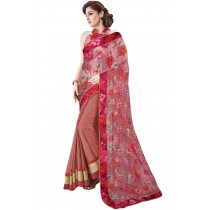 Paaneri Light Coral With Light Pink Color Floral Chiffon With Georgette Printed Saree Product Code-16120131409