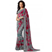 Paaneri Designer Grey Color Flowerest Georgette Saree With Satin Border Pallu-Product Code-16120405106