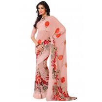 Paaneri Pink Pink Color Flowerest Georgette Saree With Satin Border Pallu-Product Code-16120405206