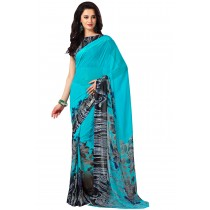 Paaneri Sky Blue Color Flowerest Georgette Saree With Satin Border Pallu-Product Code-16120405606