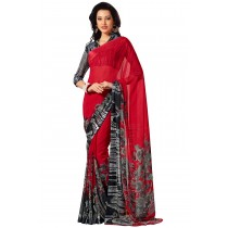 Paaner Fancy Red Color Flowerest Georgette Saree With Satin Border Pallu-Product Code-16120405706