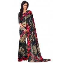 Paaneri Multicolor Flowerest Georgette Saree With Satin Border Pallu-Product Code-16120405806