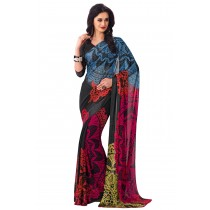 Paaneri Multicolor Georgette Saree With Satin Border Pallu-Product Code-16120406206