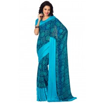 Paaneri Sea Green Color Georgette Saree With Satin Border Pallu-Product Code-16120406506