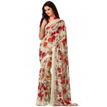 Paaneri PeachPuff Color Flowerest Georgette Saree With Satin Border Pallu-Product Code-16120407006