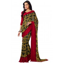 Paaneri Black With Gold Color Georgette Saree With Satin Border Pallu-Product Code-16120407106