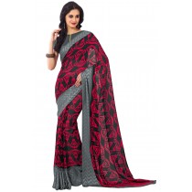 Paaneri Red With Black Color Georgette Saree With Satin Border Pallu-Product Code-16120407206