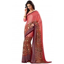 Paaneri Half n Half Pink Color Satin Printed Saree -Product Code-16120407906