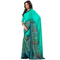Paaneri Half n Half Sea Green Color Satin Printed Saree-Product Code-16120408006